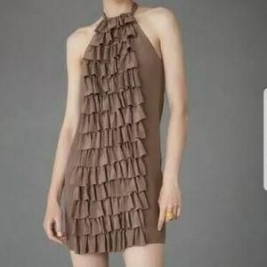BHLDN Va Et Vien Ruffled Racerback Silk Dress SZ 6